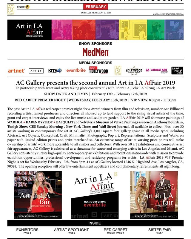 AC Gallery presents the second annual Art in LA AfFair 2019 in partnership with artnet and Artsy taking place concurrently with Frieze Los Angeles and Felix Los Angeles during LA Art Week.  Tickets online @eventbrite  Show Sponsor @shopmedmen  Gallery Network Partners @artnet @artsy  Official payment service partner @square  @thehollywoodroosevelt @dreamhotelsla @loewshollywood  @japanhousela @hollywoodchamberofcommerce @jimmykimmellive #hollywood  @Artistscornergallery @DianeRosenstein @Gavlakgallery @JeffreyDeitchgallery @KohnGallery @RegenProjects @Steveturnerla @Tanyabonakdargallery  #hollywoodwalkoffame #egyptiantheatrehollywood @innout  @melsdrivein @innoutpeople  @dolbytheatre @chinesetheatres @hardrockcafe @magiccastleofficial  @yamashirola @taola @warwick_la