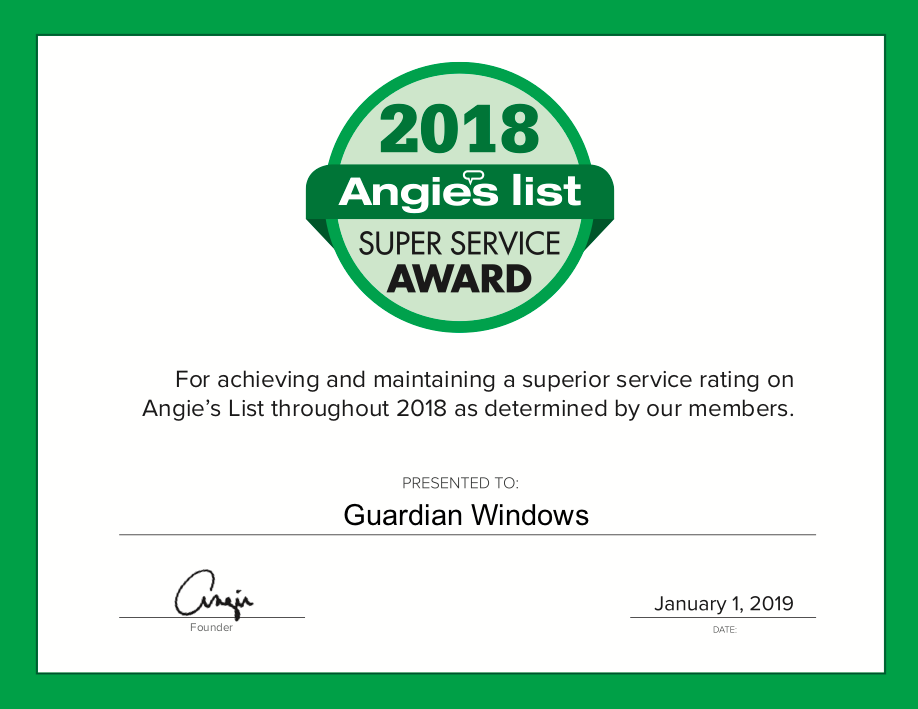 Angie's List Super Service Award 2018 Certificate