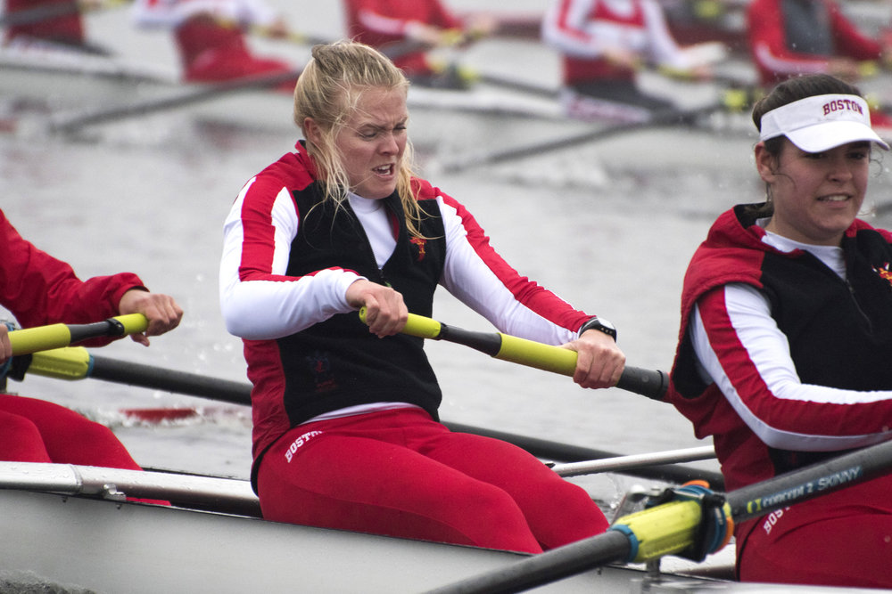 Anna Weis, a member of the Boston University Women's Rowing Team, rows hard during a 1000 meter practice sprint April 4.