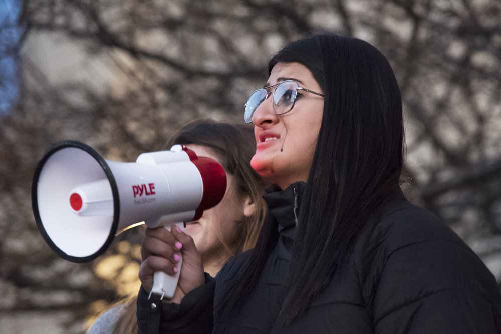 Maya Anand, who had a close friend involved in the parkland shooting, speaks at the BU Rally Against Gun Violence held in Marsh Plaza February 26. Speaking without a prepared speech, Anand shared her deeply personal experiences with gun violence to the crowd.