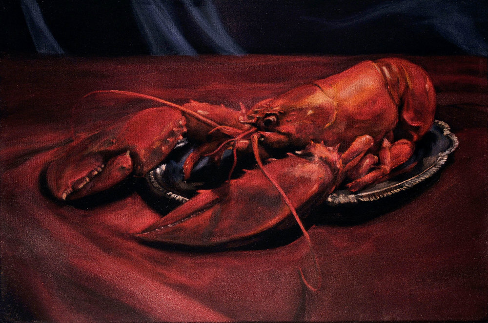 Lobster (apologies to Jacob Lawrence)  acrylic on velvet  12 x 18 inches