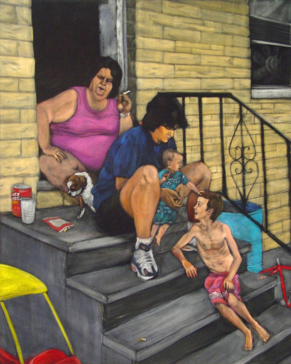 Stoopsitters  acrylic on velvet  40 x 32 inches