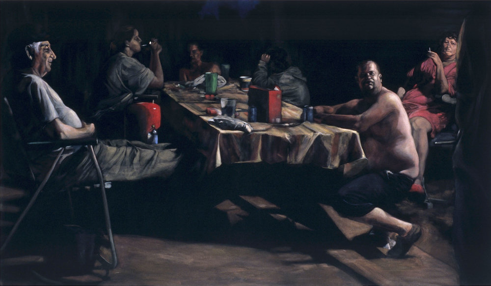Booper's Table  acrylic on velvet  42 x 72 inches