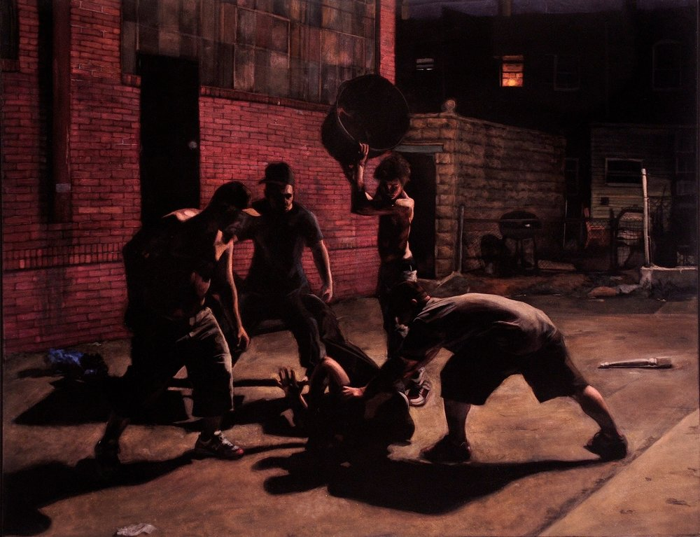 Beatdown  acrylic on velvet  42 x 54 inches