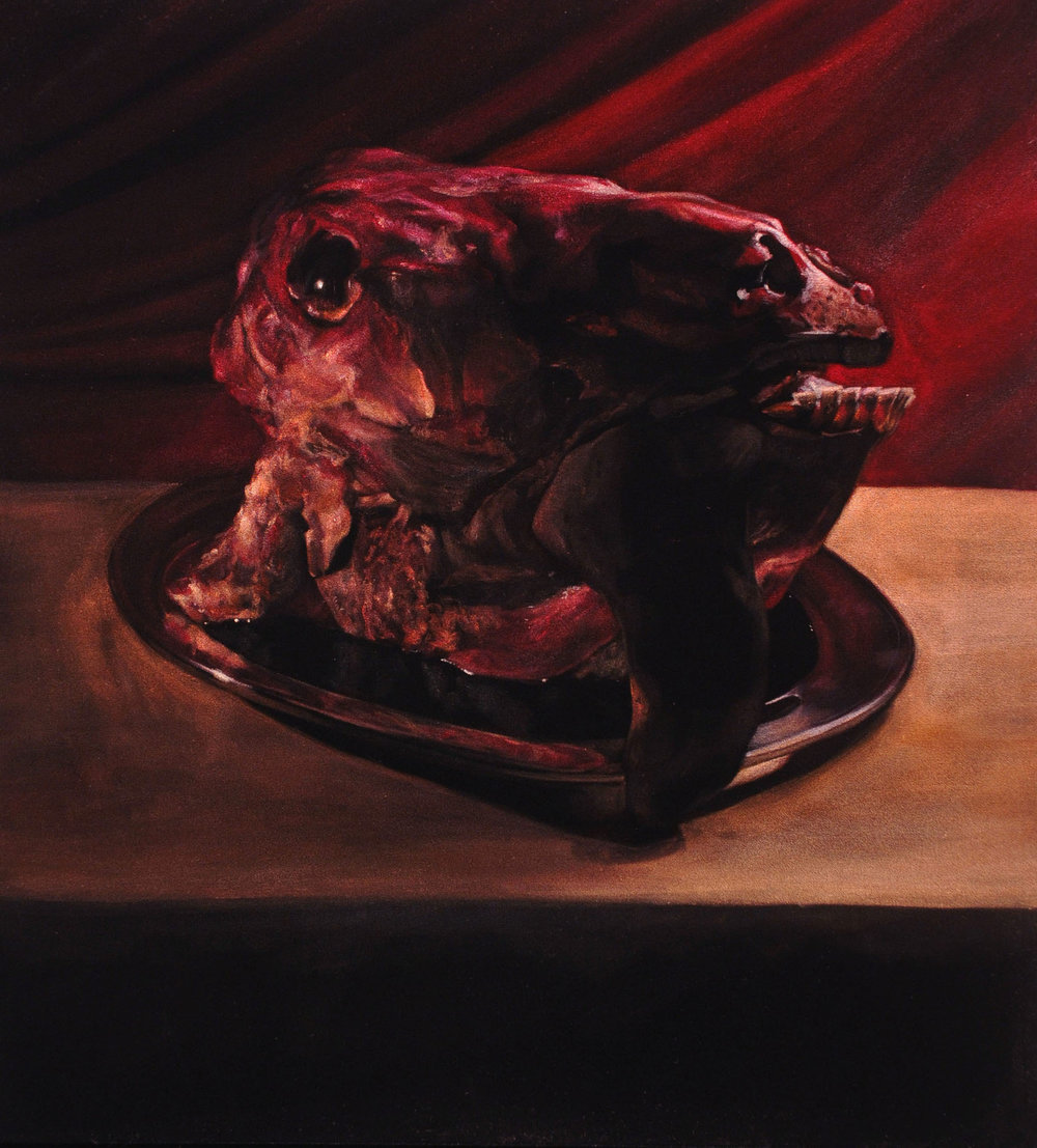 Beef Head with Tongue  acrylic on velvet  24 x 22 inches