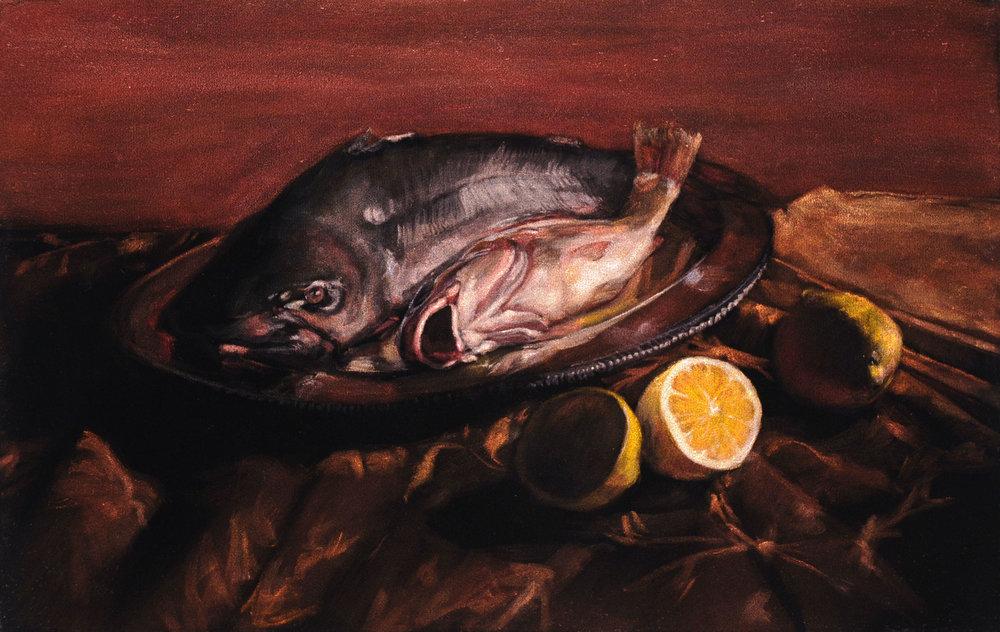 Catfish and Hardhead  acrylic on velvet  16 x 20 inches