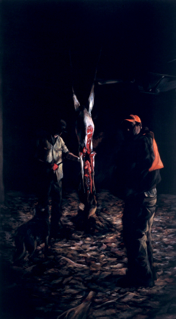 After the Hunt  acrylic on velvet  72 x 42 inches