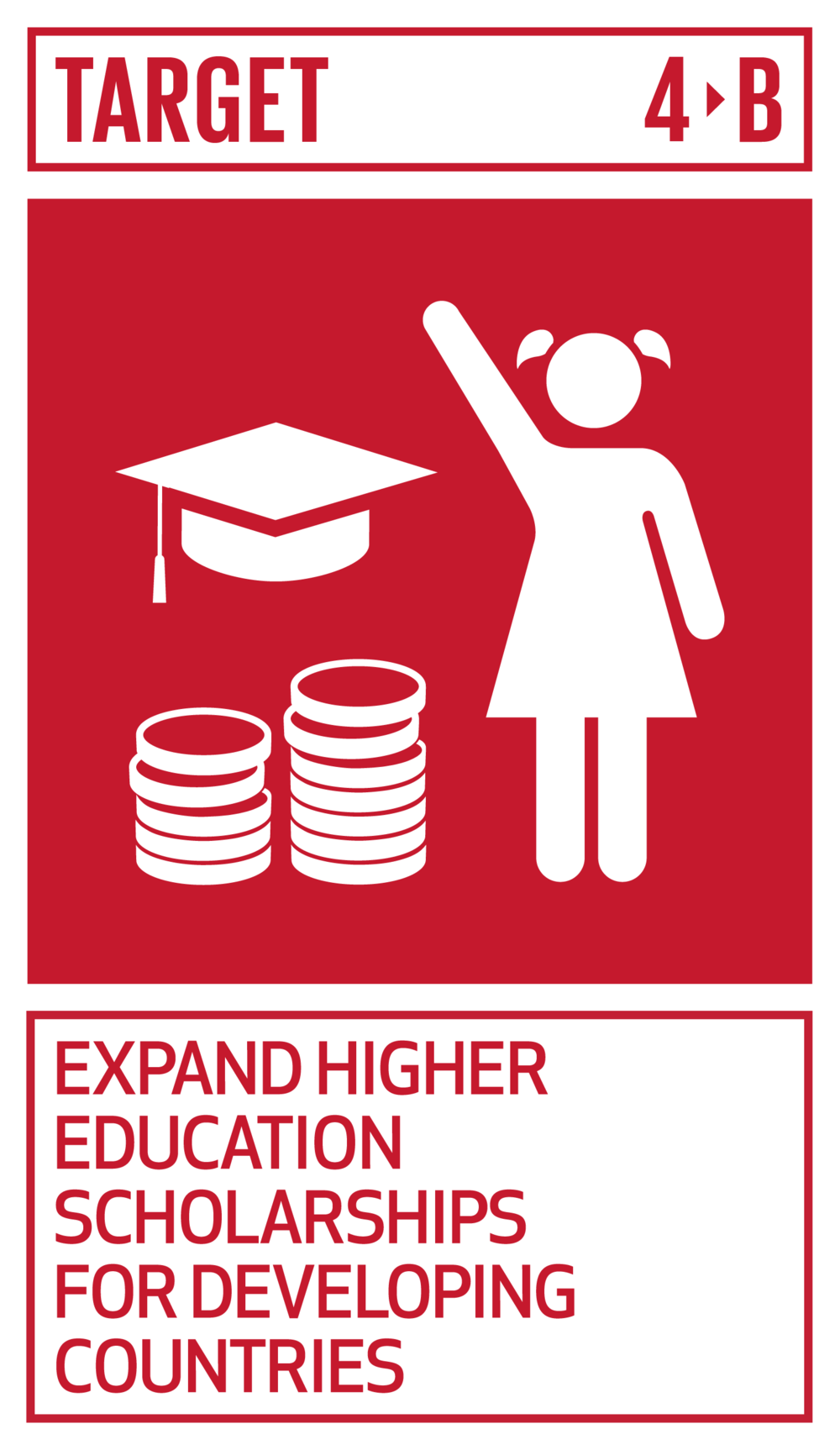 By 2020, substantially expand globally the number of scholarships available to developing countries, in particular least developed countries, small island developing States and African countries, for enrolment in higher education, including vocational training and information and communications technology, technical, engineering and scientific programmes, in developed countries and other developing countries.   INDICATOR    4.b.1  Volume of official development assistance flows for scholarships by sector and type of study