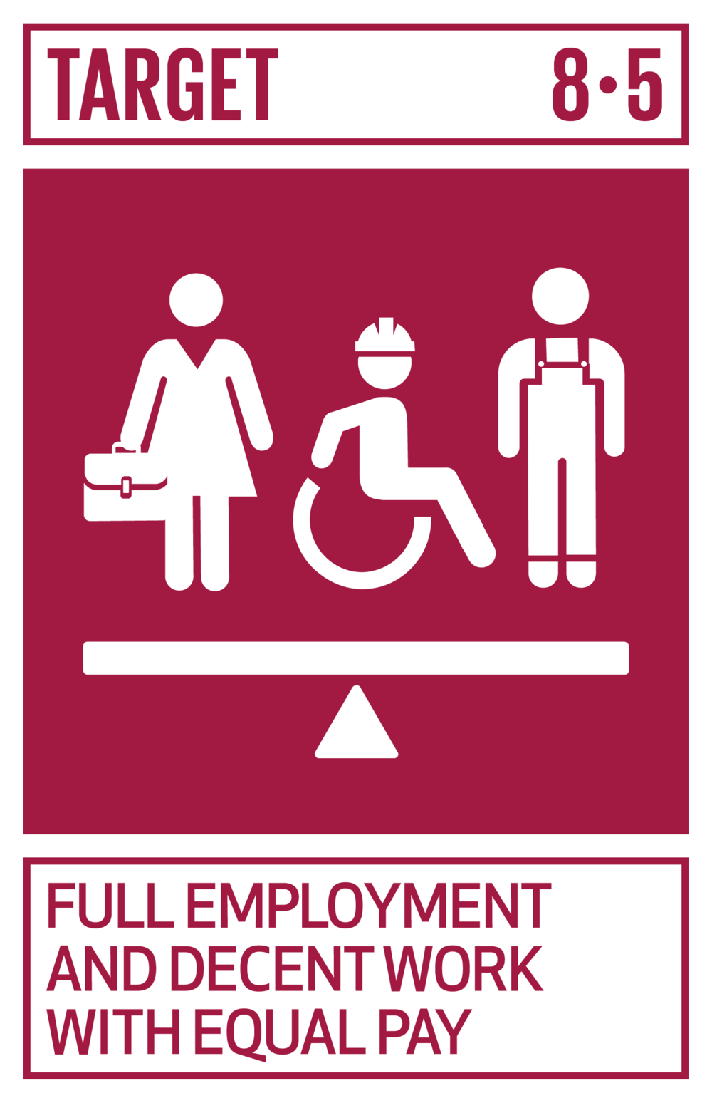 By 2030, achieve full and productive employment and decent work for all women and men, including for young people and persons with disabilities, and equal pay for work of equal value.   INDICATORS    8.5.1  Average hourly earnings of female and male employees, by occupation, age and persons with disabilities   8.5.2  Unemployment rate, by sex, age and persons with disabilities