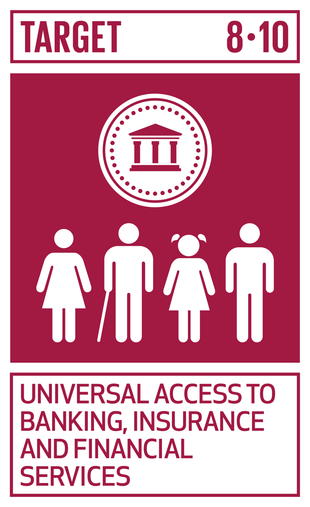 Strengthen the capacity of domestic financial institutions to encourage and expand access to banking, insurance and financial services for all.   INDICATORS    8.10.1  (a) Number of commercial bank branches per 100,000 adults and (b) number of automated teller machines (ATMs) per 100,000 adults   8.10.2  Proportion of adults (15 years and older) with an account at a bank or other financial institution or with a mobile-money-service provider