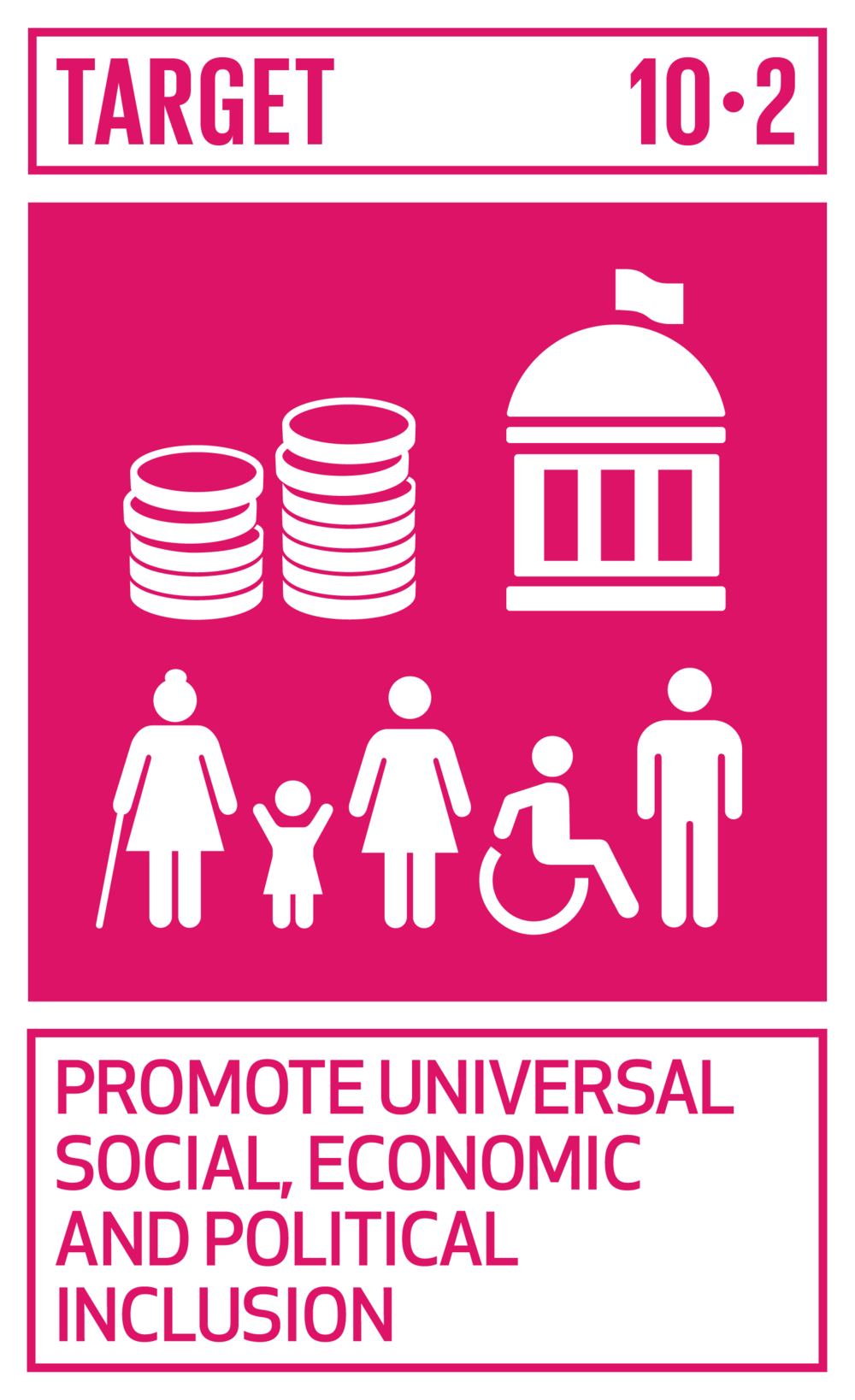 By 2030, empower and promote the social, economic and political inclusion of all, irrespective of age, sex, disability, race, ethnicity, origin, religion or economic or other status.   INDICATOR    10.2.1  Proportion of people living below 50 per cent of median income, by sex, age and persons with disabilities