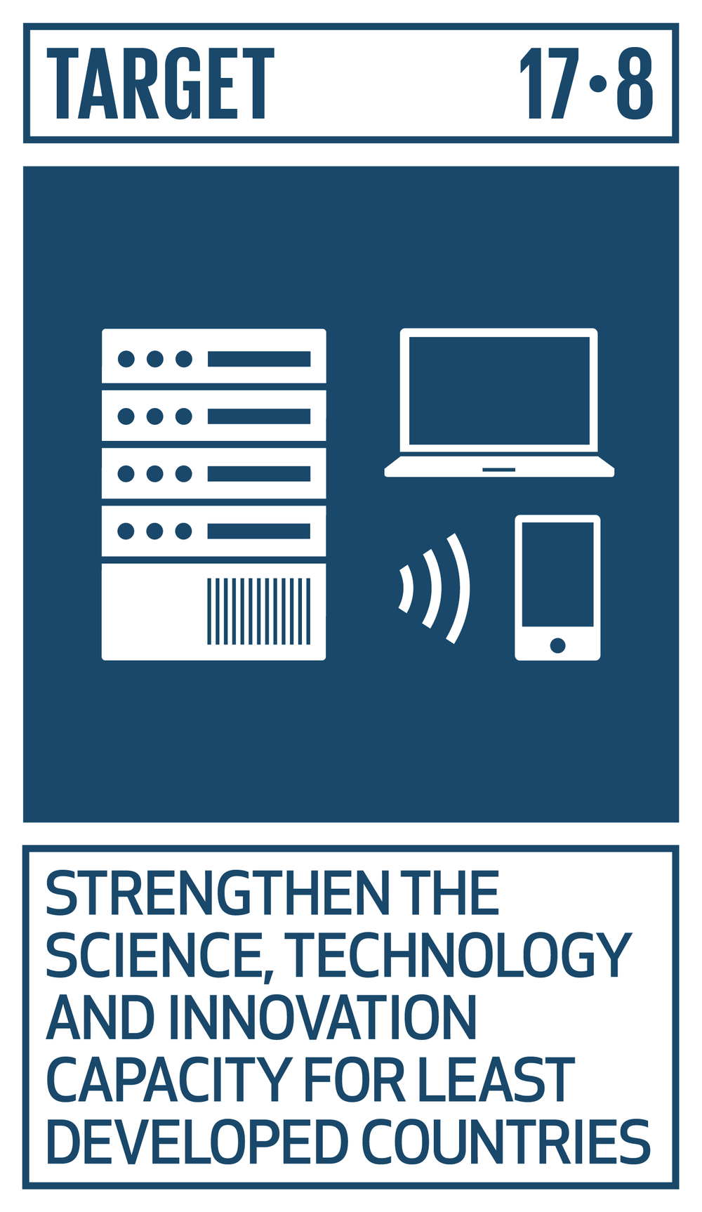 FINANCE TARGET   Fully operationalize the technology bank and science, technology and innovation capacity-building mechanism for least developed countries by 2017 and enhance the use of enabling technology, in particular information and communications technology.   INDICATOR    17.8.1  Proportion of individuals using the Internet