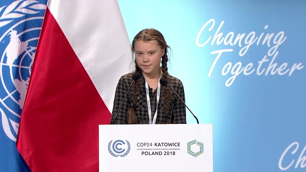Click on image or here to see Greta Thunberg's full speech at UN Climate Change COP24 Conference in Poland, 2018 [3:30 min]