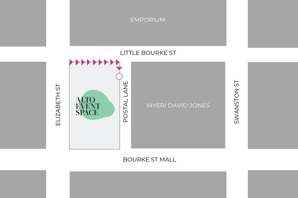 The ALTO Event Space is located on the corner of Bourke and Elizabeth St, Melbourne. Entry is via postal lane on the corner of little Bourke St in the Melbourne CBD.