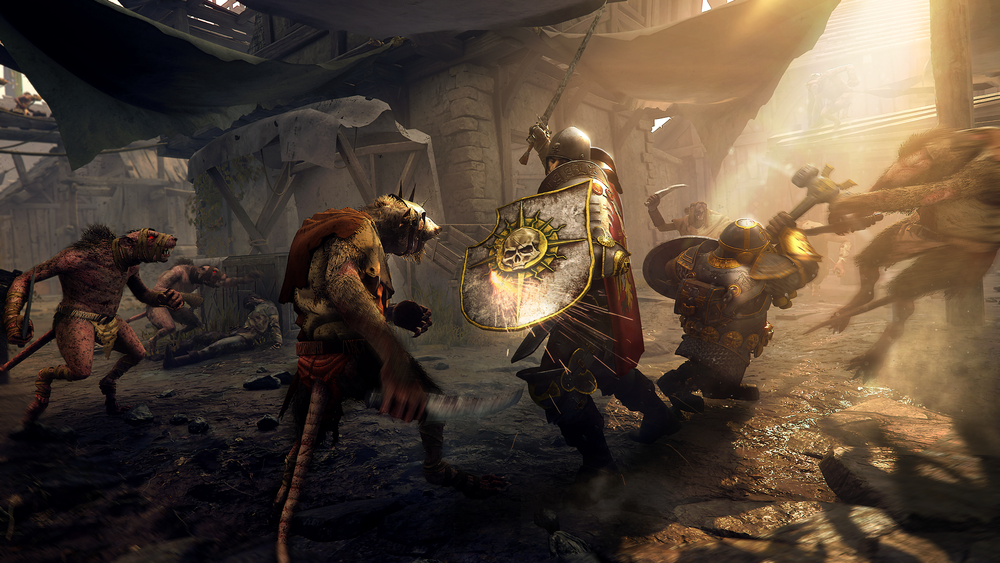 Bardin Goreksson and Markus Kruber face off with the Skaven in the Pit