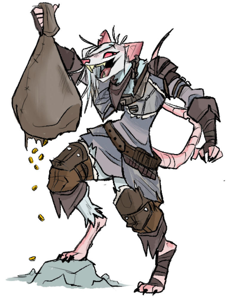 Truk Rotlich - Truk Rotlich the sack rat, according to the artist. An exile of the Skaven, she attempts to trade goods to all different factions, a coward but won't hesitate to kick a friend off a cliff to scoop up their loot.By: featherfine