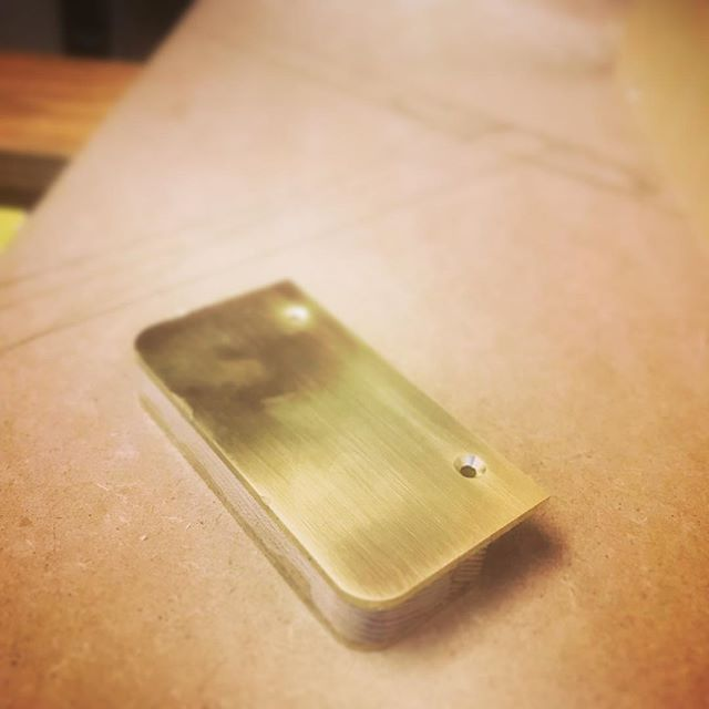 Brass handle. Custom designed for our new kitchen.  #brasshandles #elm #birchkitchen #birchbyootw