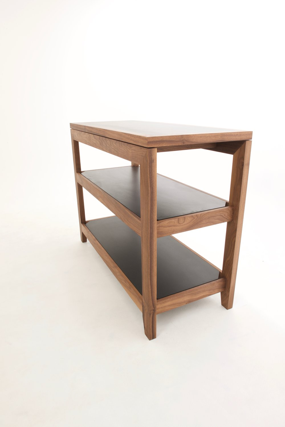 Shown in Walnut & Black Valchromat shelves.