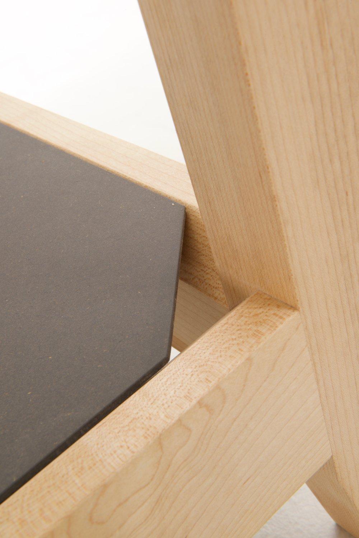 Maple & Light Grey Valchromat, double mitred inset shelves.