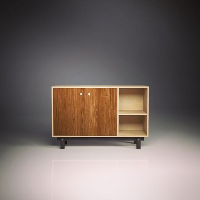 Our new revised sideboard shown here in Walnut & Brass. £1195.  Available in our webshop now.  #birch #birchbyootw #ootw #plywoodfurniture #furnituredesign #cabinetmaker #madeinbristol