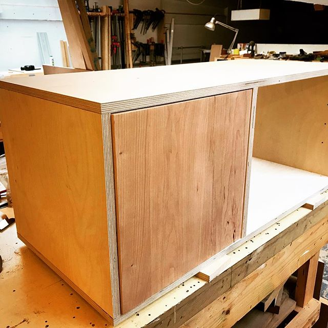 First Birch cabinet of 2019 in production.  Our Small Media (SM2) with a lovely American Cherry door.  Perfect for tv's or record players and Victorian terrace, active friendly size.  #vinyl #birch #plywoodfurniture #madeinbristol #birchbyootw #ootw