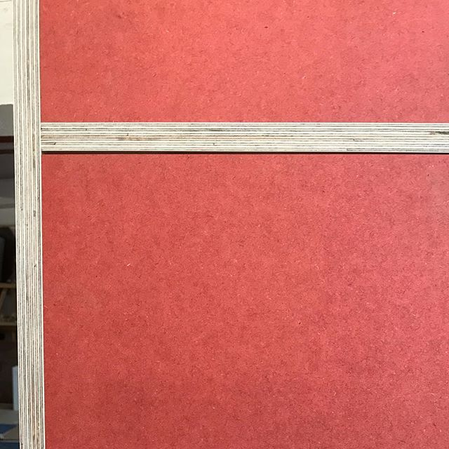 Birch plywood & red Valchromat.  A strikingly beautiful combination  #plywoodfurniture #valchromat #ootw (For the keen eye the gap will be 1mm around. Just checking the drawer fronts fit)