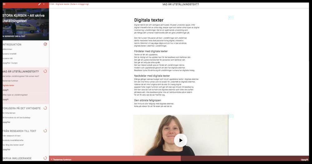 Skärmdump från webbkursen som innehåller film, text, bilder, uppgifter och massor av exempel.