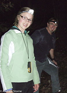 Kara Pot and 'Stretch' Little on the hunt for Ringtail Possums on Mount Melville during the recent surveys