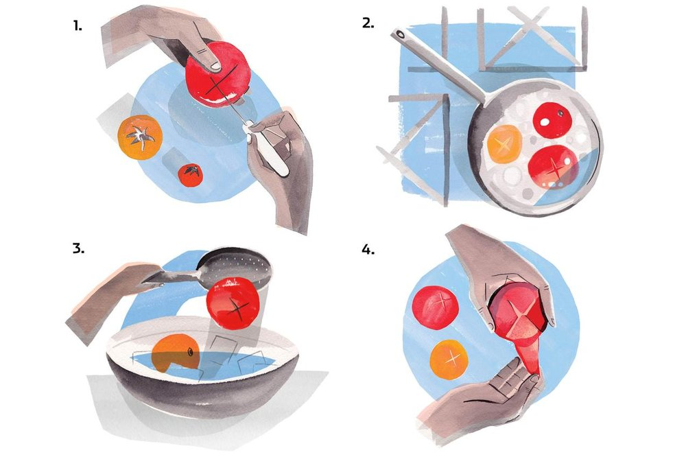 """""""How To Peel Tomatoes (And Why You Actually Do Want to)"""" The Wall Street Journal"""