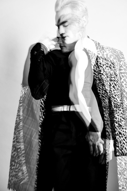 Sweater: Iceberg  Pants: Calvin Luo  Coat: Bande Noir  Shoes: Asos