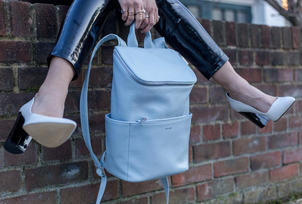 Matt_and_Nat: Brave backpack in Dusk / Stessy heel in White/ Triplet in Dusk Bag in previous image .