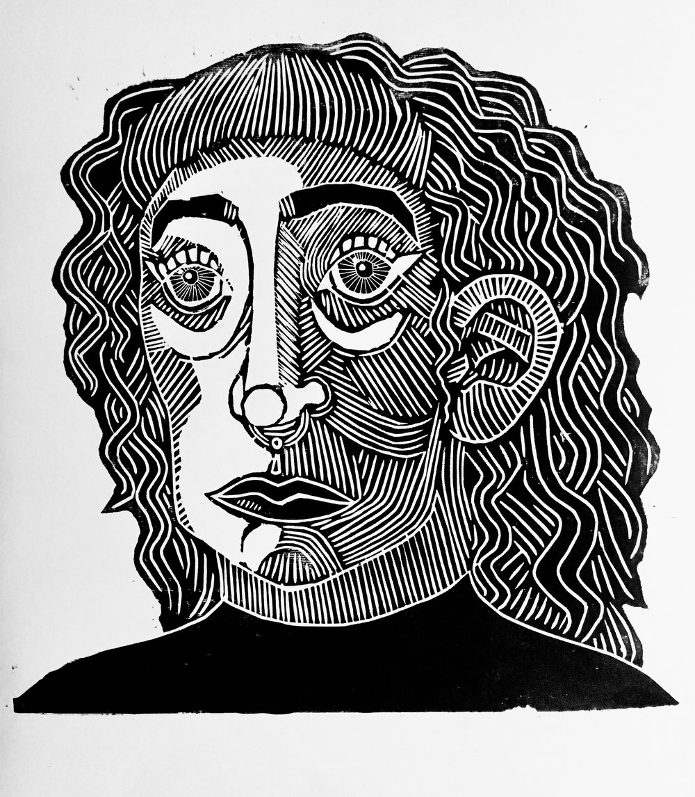 'Self Portrait', Woodcut, 40 x 40cm. Made during my residency.