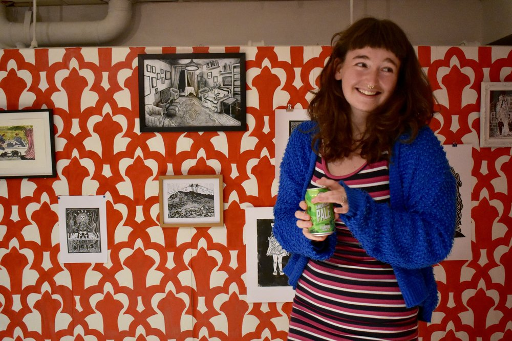 Me stood infront of my installation holding a Pale Ale, kindly donated by the exhibition sponsor Fourpure