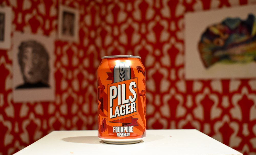 A Fourpure Pils Lager in front of my installation
