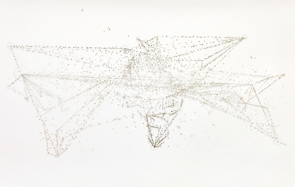 "YU-WEN WU |  Map of Global Migration 2018,  ink on duralar, 12"" x 30"", 2018"