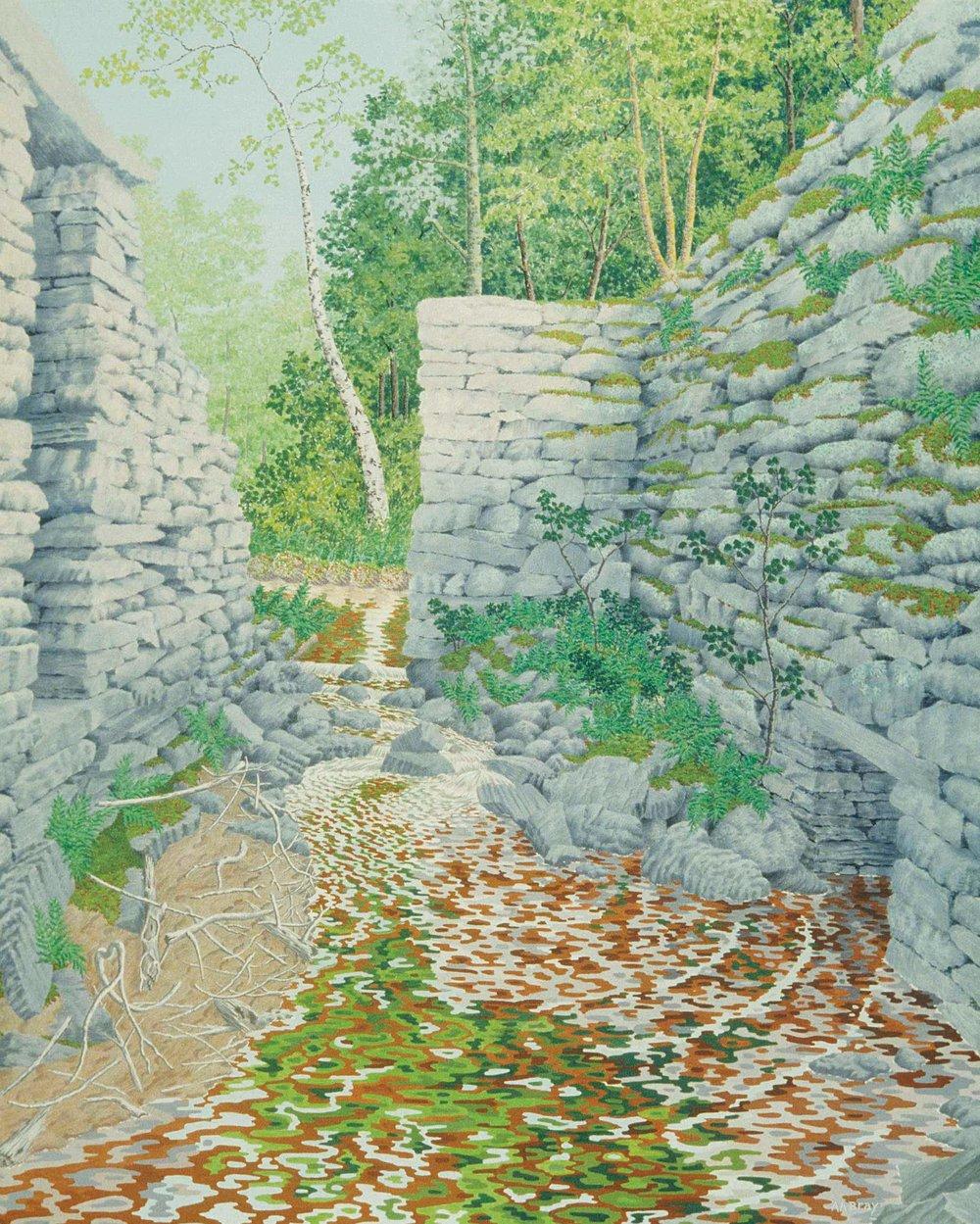 "ALAN BRAY |  Knowlton's Mills , 1999, casein on panel, 36"" x 24"""
