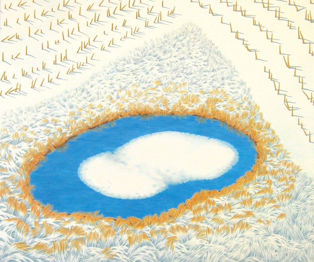 "ALAN BRAY |  Winter's False Start , 2014, casein, 20"" x 24"""