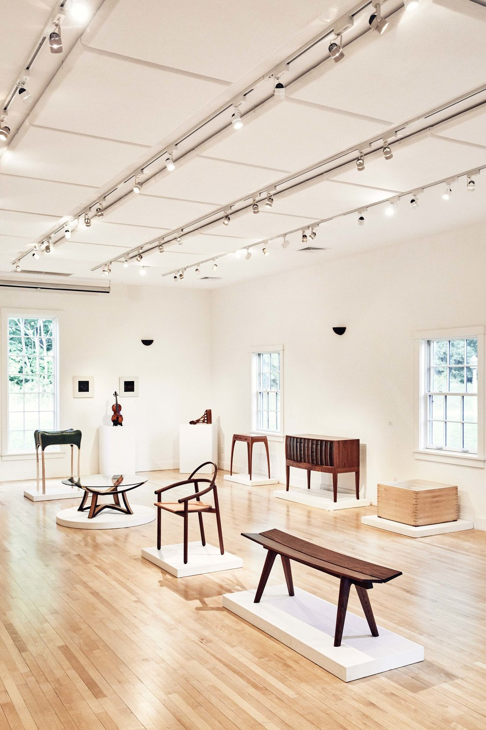 The Messler Gallery at the Center for Furniture Craftsmanship holds four shows a year, open to the public. Seen here is a collection of faculty work.