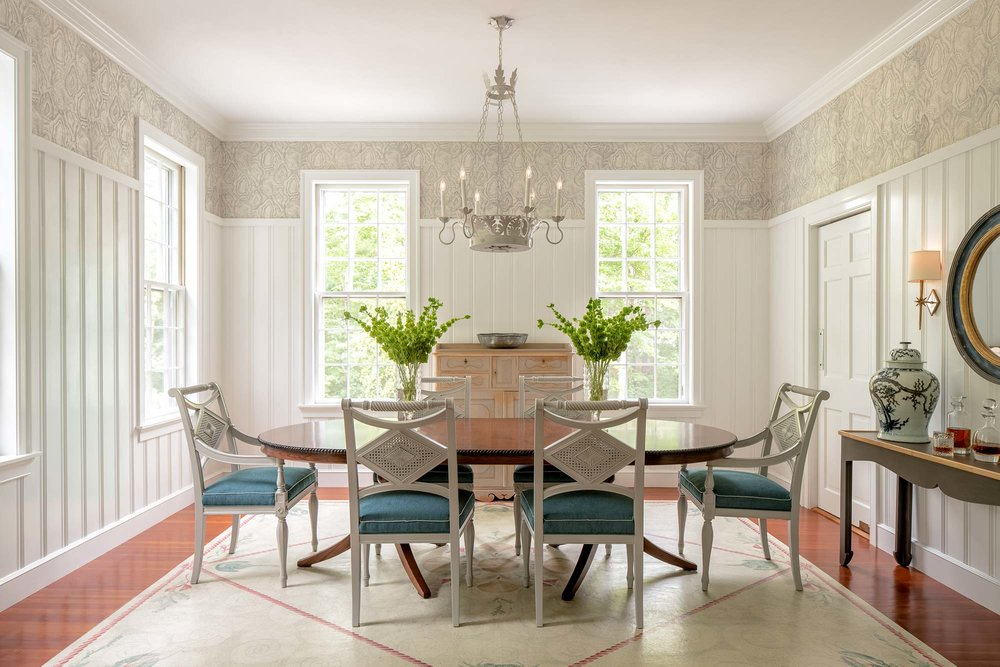 """Fremont-Smith says, """"We selected the Agate wallpaper (by Phillip Jeffries) for the dining room because its pattern speaks to the native Maine landscape and textures. It has a lot of natural movement. The faint texture and shiny quality give it more life."""""""