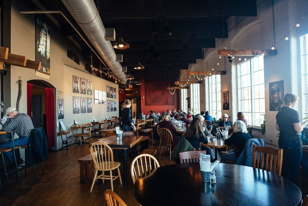 Frontier, located in Fort Andross Mill, consists of a restaurant & bar, theater, and event space.