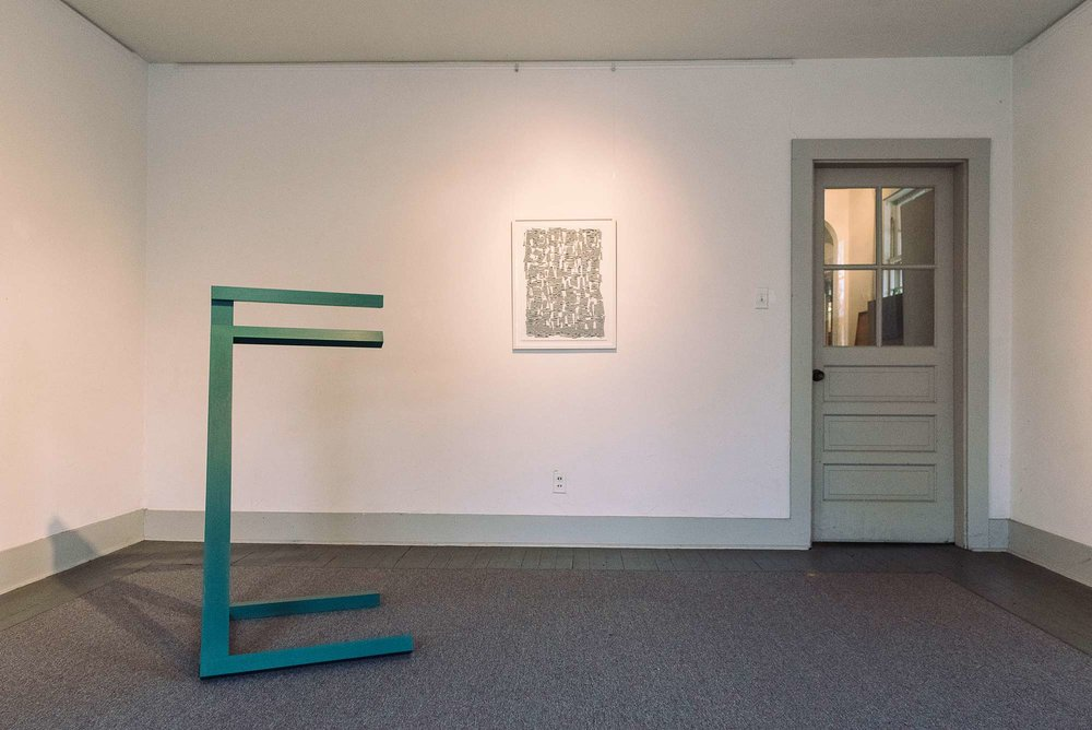 Duane Paluska's elegant sculpture  Michigan , and  Beyond Expectations , one of Ellen Golden's hypnotizing drawings at ICON Contemporary Art.