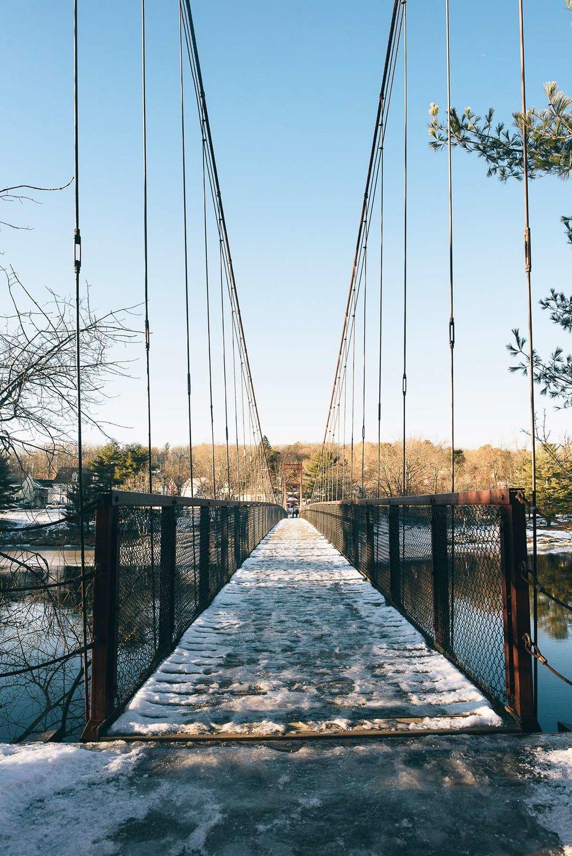 The Androscoggin Swinging Bridge.