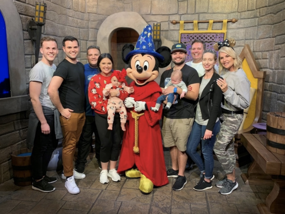 Luca Boccia's Family (From Left to Right):  Mike (Cody's boyfriend), Cody (son), Nick (son-in-law), Céline (daughter), Lilly (granddaughter), Mickey Mouse, Luca (son), Luca (grandson), Luca (Me), Jo (daughter-in-law), Christine (Wife)
