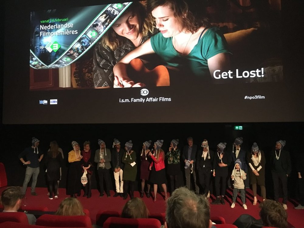 GET LOST! PREMIERE - The (international) cast and crew of GET LOST! celebrated the succesful premiere at Hilversum.GET LOST! will be broadcast by the EO on NPO3, March 14th, 20.25.