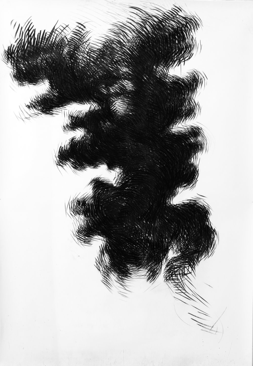 Cloud Study No.4,  2014   Charcoal on paper 230 x 151 cm