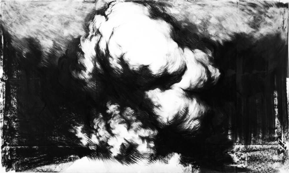 Cloud Study No.1,  2014 Charcoal on paper  255 x 152 cm