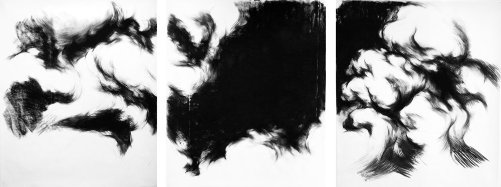 Cloud Study Triptich,  2014   Charcoal on paper 180 x 150 cm x 3