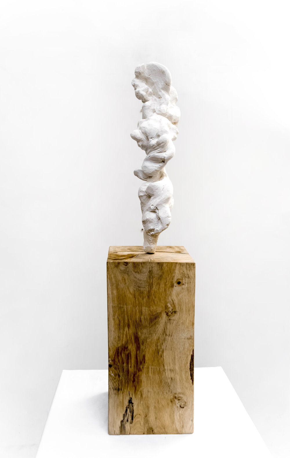 Small Totem White No.2 (Carved) , 2018  Painted bronze and oak wood, 83 x 12 x 12 cm