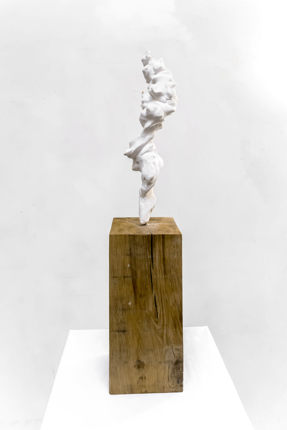 Small Totem White No.1 (Carved) , 2017, Painted bronze and oak wood, 70 x 10 x 10 cm