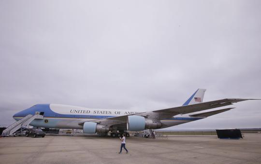 """In this Monday, Sept. 18, 2017 photo during a visit to the """"Air Force One Experience,"""" a full-sized 747 replica of Air Force One which is now open to the public sits on a tarmac in North Kingstown, R.I. (AP Photo/Stephan Savoia)  Stephan Savoia"""